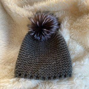 Lizette Knit Hat with Real Silver Fox Fur Pom Pom